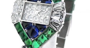 Piaget 20404 18k White Gold Diamond Emerald Sapphire Quartz Watch